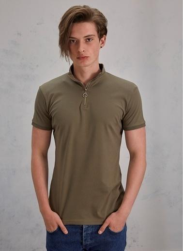Pi π Polo Fermuarlı Tişört Haki